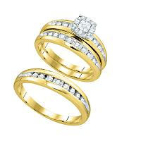 10k Yellow Gold Round Diamond Cluster Mens Womens Matching Halo Trio Wedding Bridal Ring Set 1/2 Cttw