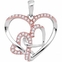 10kt White Gold Womens Round Diamond Rose-tone Heart Love Pendant 1/4 Cttw