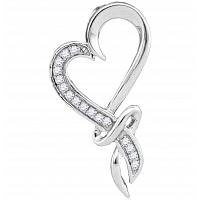 10kt White Gold Womens Round Diamond Spiral Heart Outline Pendant 1/10 Cttw
