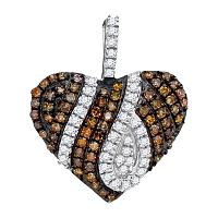 10kt White Gold Womens Round Cognac-brown Color Enhanced Diamond Heart Love Pendant 1/3 Cttw