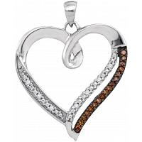 10kt White Gold Womens Round Cognac-brown Color Enhanced Diamond Heart Love Pendant 1/6 Cttw
