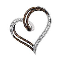 Sterling Silver Womens Round Cognac-brown Color Enhanced Diamond Heart Pendant 1/5 Cttw