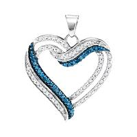10kt White Gold Womens Round Blue Color Enhanced Diamond Double Frame Heart Pendant 1/3 Cttw