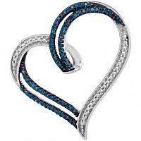 10kt White Gold Womens Round Blue Color Enhanced Diamond Heart Outline Pendant 1/5 Cttw