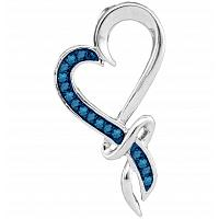 10kt White Gold Womens Round Blue Color Enhanced Diamond Heart Pendant 1/10 Cttw