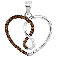10kt White Gold Womens Round Cognac-brown Color Enhanced Diamond Heart Infinity Pendant 1/8 Cttw
