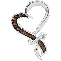 10kt White Gold Womens Round Cognac-brown Color Enhanced Diamond Heart Love Pendant 1/10 Cttw