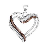 10kt White Gold Womens Round Cognac-brown Color Enhanced Diamond Heart Pendant 1/3 Cttw