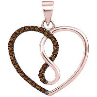 10kt Rose Gold Womens Round Brown Color Enhanced Diamond Heart Infinity Pendant 1/8 Cttw