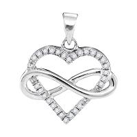 10kt White Gold Womens Round Diamond Heart Love Infinity Pendant 1/6 Cttw