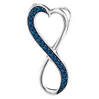 10kt White Gold Womens Round Blue Color Enhanced Diamond Heart Infinity Pendant 1/10 Cttw