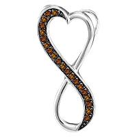 10kt White Gold Womens Round Cognac-brown Color Enhanced Diamond Heart Infinity Pendant 1/10 Cttw