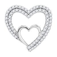 10kt White Gold Womens Round Diamond Double Nested Heart Love Pendant 1/2 Cttw