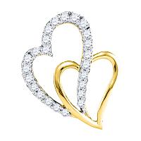 10kt Yellow Gold Womens Round Diamond Double Heart Pendant 3/8 Cttw