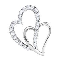 10kt White Gold Womens Round Diamond Double Heart Love Pendant 3/8 Cttw