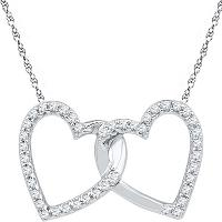 10kt White Gold Womens Round Diamond Double Linked Heart Pendant 1/6 Cttw