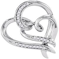 10kt White Gold Womens Round Diamond Linked Double Heart Pendant 1/10 Cttw