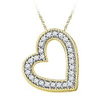 10kt Yellow Gold Womens Round Diamond Heart Love Pendant 1/8 Cttw