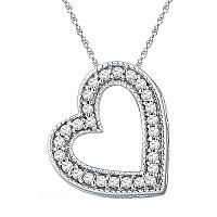 10kt White Gold Womens Round Diamond Heart Love Pendant 1/8 Cttw