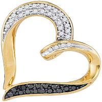 10kt Yellow Gold Womens Round Black Color Enhanced Diamond Heart Pendant 1/4 Cttw