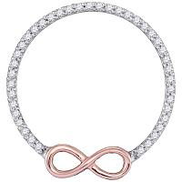 10kt Two-tone Gold Womens Round Diamond Circle Infinity Pendant 1/5 Cttw
