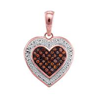 10kt Rose Gold Womens Round Red Color Enhanced Diamond Heart Love Pendant 1/8 Cttw