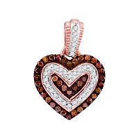 10kt Rose Gold Womens Round Red Color Enhanced Diamond Small Heart Pendant 1/5 Cttw