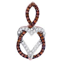 10kt Rose Gold Womens Round Red Color Enhanced Diamond Heart Pendant 1/6 Cttw