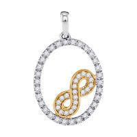 10kt Two-tone Gold Womens Round Diamond Infinity Oval Pendant 1/4 Cttw