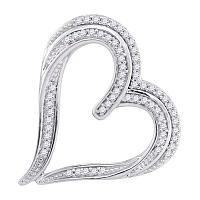 10kt White Gold Womens Round Diamond Heart Pendant 1/5 Cttw