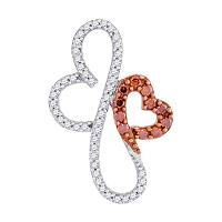 10kt Rose Gold Womens Round Red Color Enhanced Diamond Double Heart Pendant 1/4 Cttw