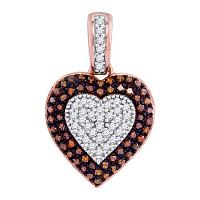 10kt Rose Gold Womens Round Red Color Enhanced Diamond Heart Pendant 1/4 Cttw