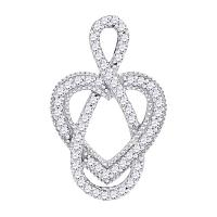 10kt White Gold Womens Round Diamond Captured Infinity Heart Pendant 1/6 Cttw