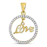 10kt Yellow Gold Womens Round Diamond Heart Pendant 1/4 Cttw