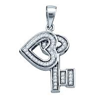 Sterling Silver Womens Round Diamond Heart Key Dangle Pendant 1/8 Cttw