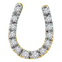 14kt Yellow Gold Womens Round Diamond Horseshoe Pendant 1/10 Cttw