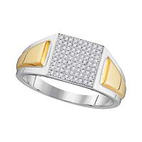 10kt Two-tone White Gold Mens Round Diamond Square Cluster Ring 1/4 Cttw