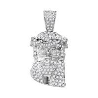 10kt White Gold Mens Round Diamond Jesus Christ Messiah Head Charm Pendant 3/4 Cttw