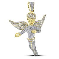 10kt Yellow Gold Mens Round Diamond Angel Wings Charm Pendant 2-1/6 Cttw