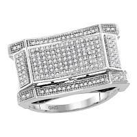 10kt White Gold Mens Round Diamond Concave Rectangle Cluster Ring 1/2 Cttw
