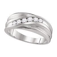 10kt White Gold Mens Round Diamond Wedding Band Ring 1/3 Cttw