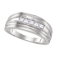 10kt White Gold Mens Princess Diamond Wedding Band Ring 1/2 Cttw