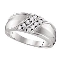 10kt White Gold Mens Round Diamond Double Row Wedding Band Ring 1/3 Cttw