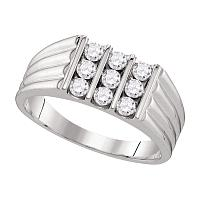 10kt White Gold Mens Round Diamond Triple Row Ribbed Wedding Band Ring 3/4 Cttw