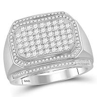 14kt White Gold Mens Round Diamond Octagon Cluster Ring 1-5/8 Cttw