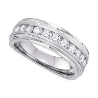 10kt White Gold Mens Round Channel-set Diamond Milgrain Edge Wedding Band Ring 1/2 Cttw
