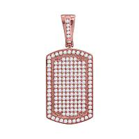 10kt Rose Gold Mens Round Diamond Dog Tag Charm Pendant 2.00 Cttw
