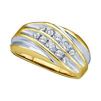 10kt Yellow Two-tone Gold Mens Round Diamond Wedding Anniversary Band Ring 1/2 Cttw