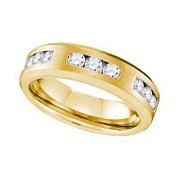 10k Yellow Gold Mens Round Diamond Wedding Anniversary Band Ring 1.00 Cttw