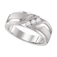 10k White Gold Mens Round Diamond Wedding Anniversary Band Ring 1/4 Cttw